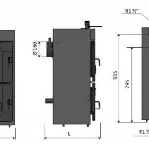 Cazan din Fonta DUNATECH PLUS, 50 KW, 8 elementi, cu ventilator