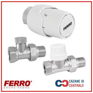 """Set robineti tur-retur FERRO cu cap termostatat 1/2"""""""