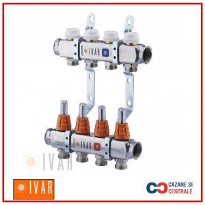 Set distribuitor tur/retur IVAR 1″ x EK – 6cai cu debitmetru