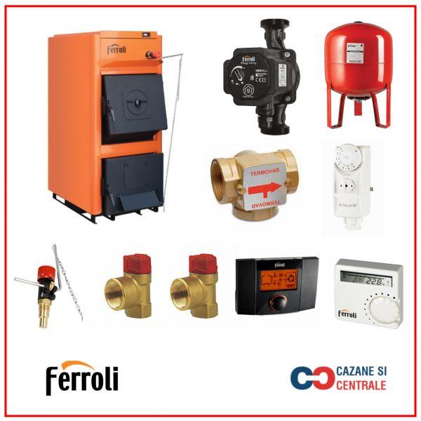 Pachet centrala termica pe lemne Ferroli FSB PRO 50 cu accesorii