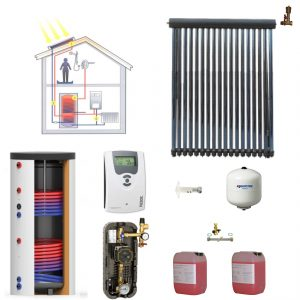 Pachet panou solar Westech SP 58/1800A-24 cu 24 tuburi vidate si boiler bivalent 200 litri
